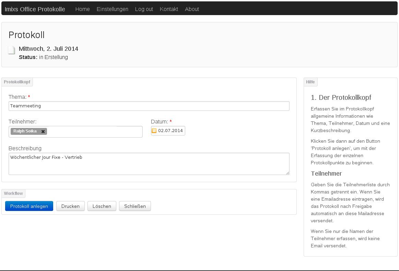 Wie schreibe ich ein Protokoll? – Imixs-Office-Workflow